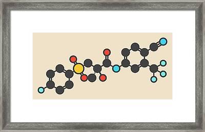 Bicalutamide Cancer Drug Molecule Framed Print by Molekuul