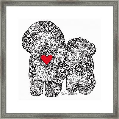 Framed Print featuring the drawing Bichon Frise by Melissa Sherbon