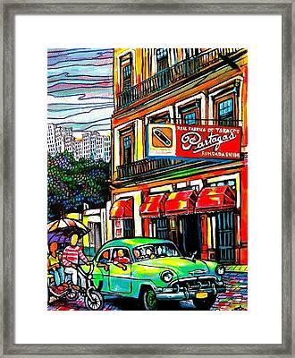 Bici Taxis And Almendrones Framed Print by Arturo Cisneros