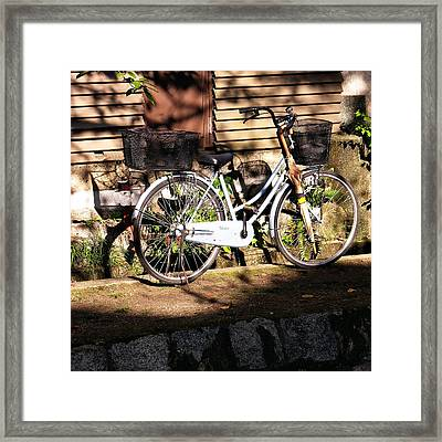 Framed Print featuring the photograph Bicycle And Baskets Kyoto - Philosophers' Walk by Jacqueline M Lewis