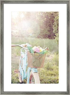 Bicycle And Flowers Framed Print by Stephanie Frey