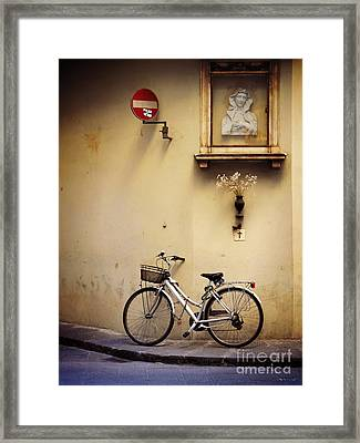 Bicycle And Madonna Framed Print