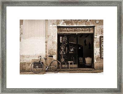 Bicycle And Reflections At L'antiquari Bar  Framed Print by RicardMN Photography
