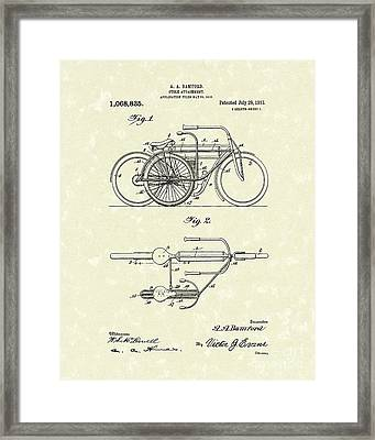 Bicycle Attachment 1913 Patent Art Framed Print by Prior Art Design