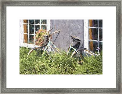 Bicycle Basket Of Flowers Painterly Effect Framed Print