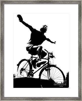 Bicycle - Black And White Pixels Framed Print