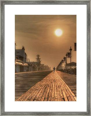 Bicycle Boardwalk Framed Print by Lori Deiter