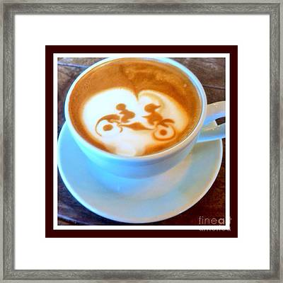 Bicycle Built For Two Latte Framed Print by Susan Garren