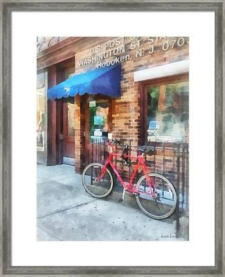 Hoboken Nj - Bicycle By Post Office Framed Print by Susan Savad