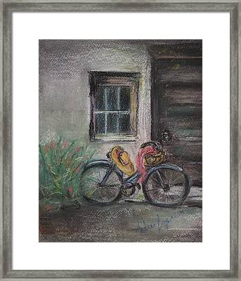 Bicycle By The Door Framed Print by Andrea Flint Lapins