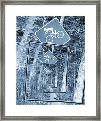 Bicycle Caution Traffic Sign Framed Print by Phil Perkins