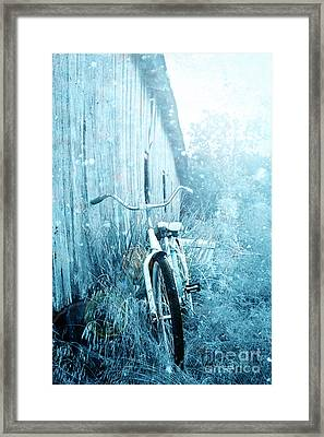 Bicycle In Blue Framed Print by Stephanie Frey