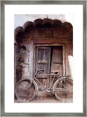 Bicycle In Doorway, Jodhpur, Rajasthan Framed Print by Peter Adams