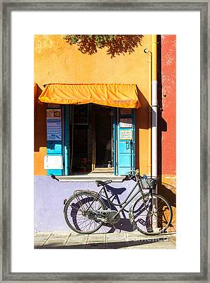 Bicycle In Front Of Colorful House - Burano - Venice Framed Print