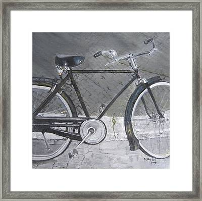 Bicycle In Rome Framed Print by Claudia Goodell