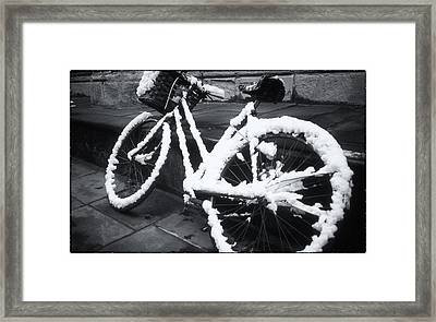 Bicycle In Snow Framed Print