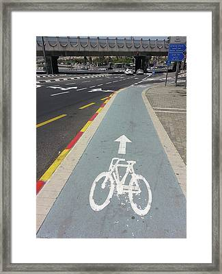 Bicycle Lane In Jerusalem Framed Print by Photostock-israel