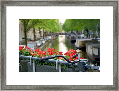 Bicycle On Canal Bridge Framed Print