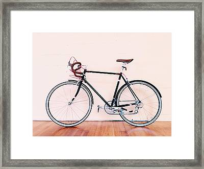 Bicycle Parked Against Wall Framed Print by Markus Spiering / Eyeem