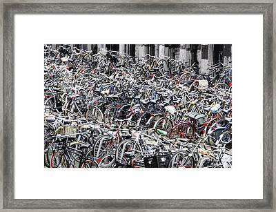 Bicycle Parking Lot Framed Print by Oscar Gutierrez