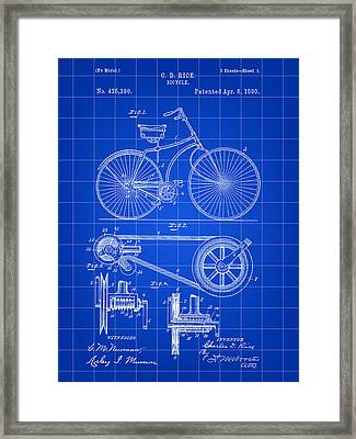 Bicycle Patent 1890 - Blue Framed Print by Stephen Younts