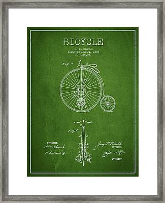Bicycle Patent Drawing From 1885 - Green Framed Print by Aged Pixel