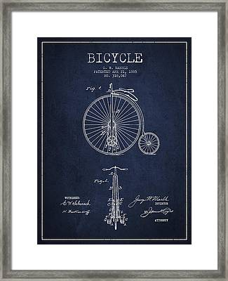 Bicycle Patent Drawing From 1885 - Navy Blue Framed Print by Aged Pixel