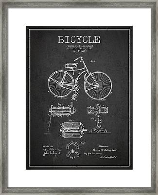 Bicycle Patent Drawing From 1891 Framed Print