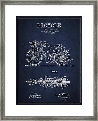 Bicycle Patent Drawing From 1896 - Navy Blue Framed Print