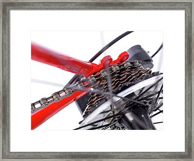 Bicycle Rear Gears Framed Print by Science Photo Library