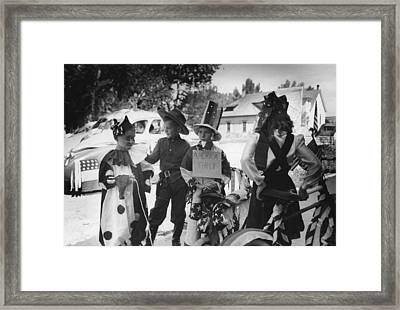 Bicycle Riders In Parade On The Fourth Of July At Vale Oregon Framed Print by Historic Photos