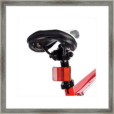 Bicycle Saddle And Reflector Framed Print by Science Photo Library
