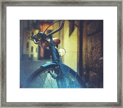 Bicycle Seen Through A Vintage Camera Framed Print by Moreiso
