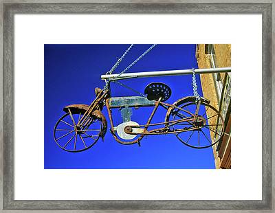 Bicycle Sign Outside Store, Virginia Framed Print