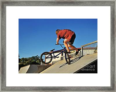 Bicycle Stunt - Action Framed Print by Kaye Menner