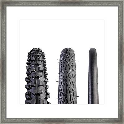 Bicycle Tyres Framed Print by Science Photo Library