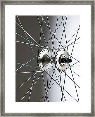 Bicycle Wheel Hub Framed Print by Science Photo Library