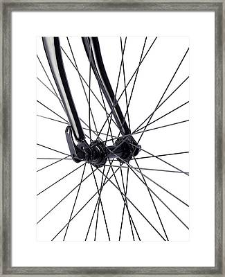 Bicycle Wheel Spokes Framed Print by Science Photo Library