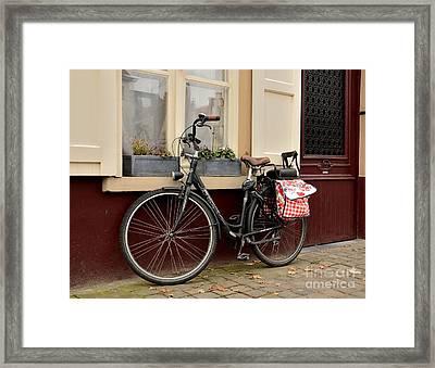 Bicycle With Baby Seat At Doorway Bruges Belgium Framed Print by Imran Ahmed