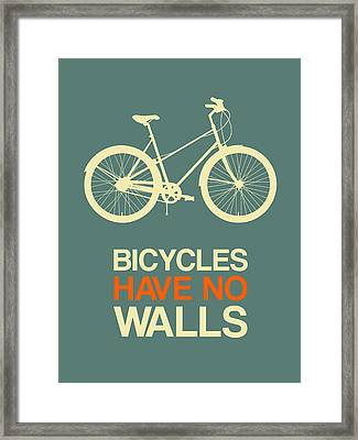 Bicycles Have No Walls Poster 3 Framed Print by Naxart Studio