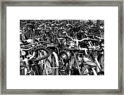 Framed Print featuring the photograph Sea Of Bicycles- Karlsruhe Germany by Joey Agbayani