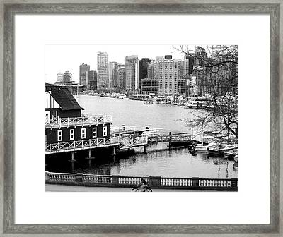 Bicycling In Vancouver Monochrome Framed Print by Will Borden