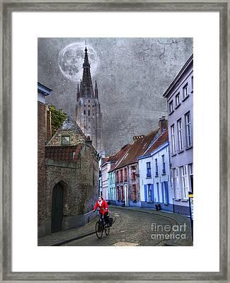 Bicycling Through Bruges Framed Print