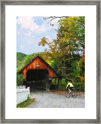 Bicyclist At Middle Bridge Woodstock Vt Framed Print by Susan Savad