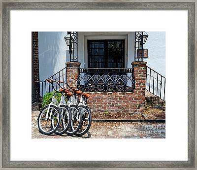 Bicycles In Charleston Framed Print