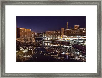 Biddeford Saco Mills At Night Framed Print by Benjamin Williamson