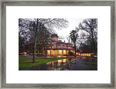 Bidwell Mansion In The Rain  Framed Print by Abram House