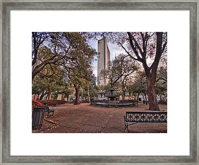 Bienville Spring With Benches Framed Print by Michael Thomas