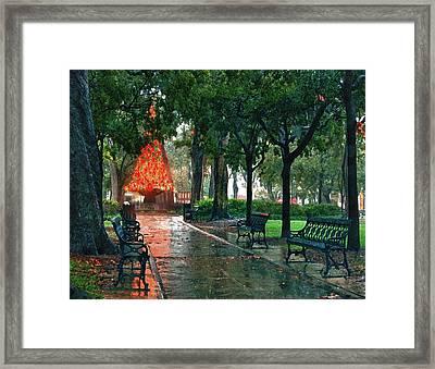 Bienville Sq. Christmas Tree Framed Print by Michael Thomas