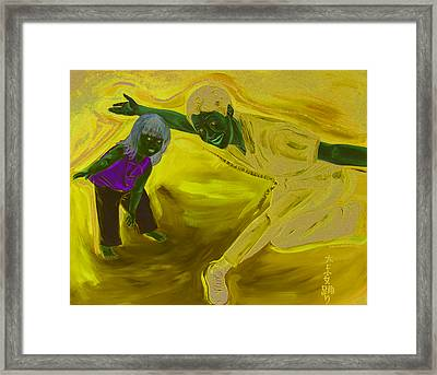 Big And Little Women Dancing Framed Print by Kevin Callahan
